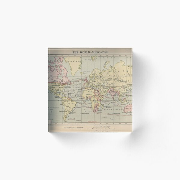 Vintage Map of The World (1914)  Acrylic Block