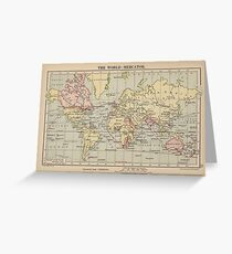 Vintage Map of The World (1914)  Greeting Card
