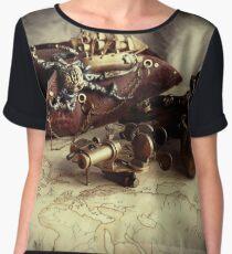 Steampunk spectacle shotgun hat  pirate Women's Chiffon Top