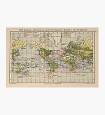 Vintage World Sailing Routes Map (1914)  Photographic Print