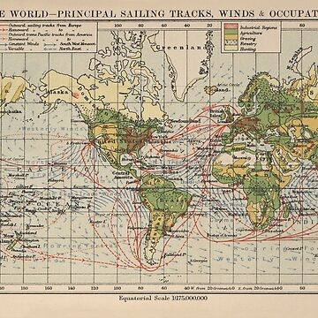 Vintage World Sailing Routes Map (1914)  by BravuraMedia