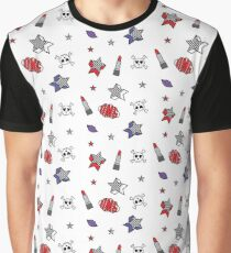 Star Pattern With Skulls And Lipstick Graphic T-Shirt