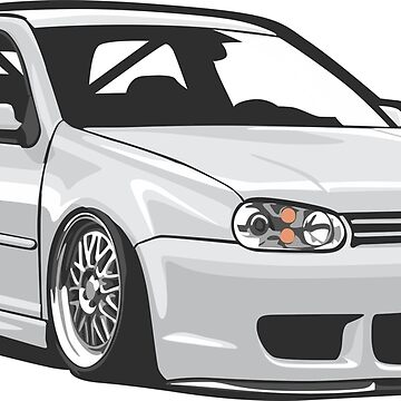 Stanced out Golf MK4 White by StickerNation