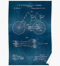 Old blueprint diagrams wall art redbubble blueprint tandem bicycle patent poster malvernweather Gallery