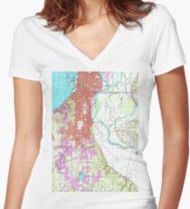 Vintage Map of Everett Washington (1953)  Women's Fitted V-Neck T-Shirt