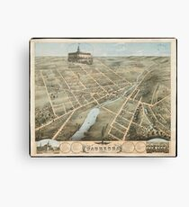 Vintage Pictorial Map of Waukesha Wisconsin (1874)  Canvas Print