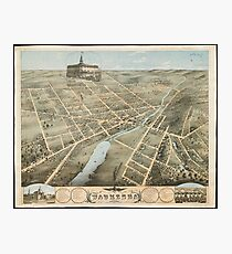 Vintage Pictorial Map of Waukesha Wisconsin (1874)  Photographic Print