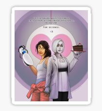 For Science, Valentine: Chell x human!GLaDOS Sticker