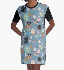 Lunar Pattern: Blue Moon Graphic T-Shirt Dress