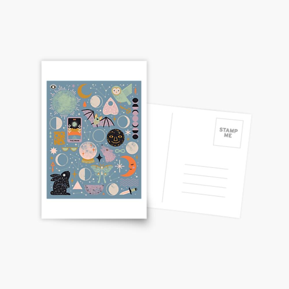 Lunar Pattern: Blue Moon Postcard
