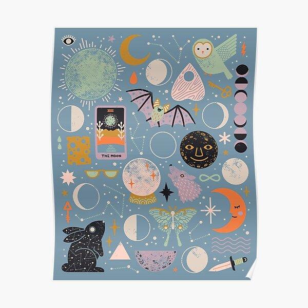 Lunar Pattern: Blue Moon Poster