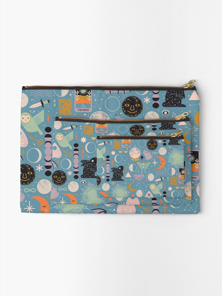 Alternate view of Lunar Pattern: Blue Moon Zipper Pouch