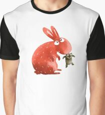 Red Rabbit Catches Bear Graphic T-Shirt