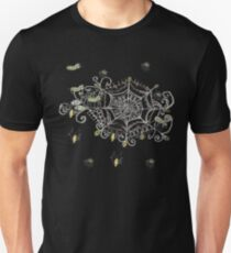 fuzzy spiders in web sketch T-Shirt