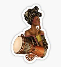 Beautiful Nubian Queen With Drum Sticker