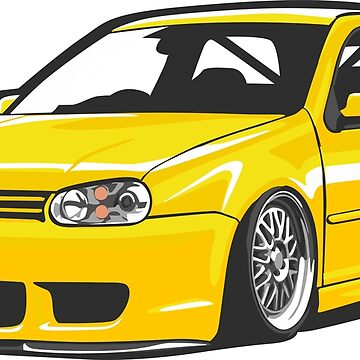 Stanced out Golf MK4 Yellow by StickerNation