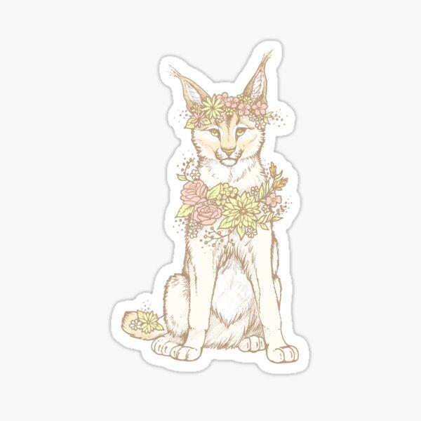 Floral Caracal Sticker