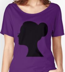 Woman's face with long lashes and neat bun Women's Relaxed Fit T-Shirt