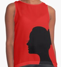 Woman's face with long lashes and neat bun Contrast Tank