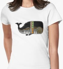 Retro Whale Migration Women's Fitted T-Shirt