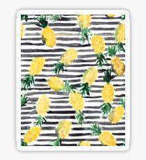 Fresh pineapples on stripes watercolor Sticker