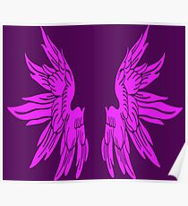 Pink Long Angel Wings - Funny T-Shirt Back Design Poster