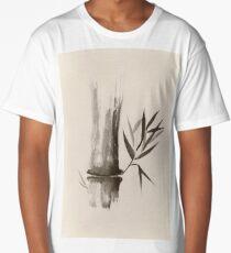 Bamboo stalk Sumi-e Oriental Zen painting in sepia art print Long T-Shirt