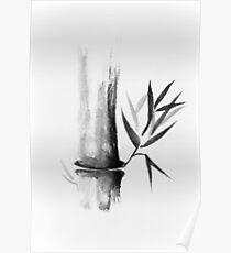 Bamboo stalk Sumi-e Oriental Zen painting illustration art print Poster
