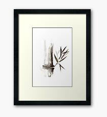 Bamboo stalk Sumi-e Oriental Zen painting art print Framed Print