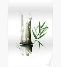Bamboo stalk with green leaves Sumi-e Oriental Zen painting art print Poster