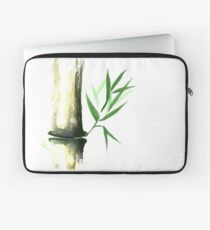 Bamboo stalk with green leaves Sumi-e Oriental Zen painting art print Laptop Sleeve