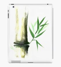 Bamboo stalk with green leaves Sumi-e Oriental Zen painting art print iPad Case/Skin