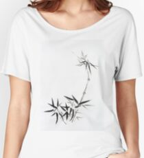 Bamboo stalk with young leaves Sumi-e Japanese Zen painting artwork art print Women's Relaxed Fit T-Shirt