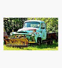 Blue Snowplow Truck Photographic Print