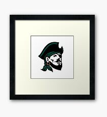 Pirate Head Eyepatch Looking Up Retro Framed Print