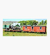 Red Train and Wagon Photographic Print