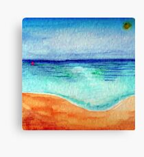 Serene Watercolor Shoreline Canvas Print