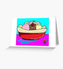 A Delicious Banana Split on a Hot Summer Day Greeting Card