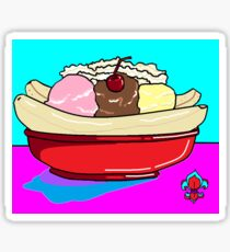 A Delicious Banana Split on a Hot Summer Day Sticker