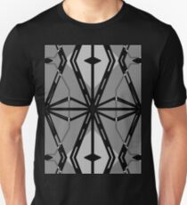 GEOMETRIC - Black, White, Gray Deco Motif T-Shirt