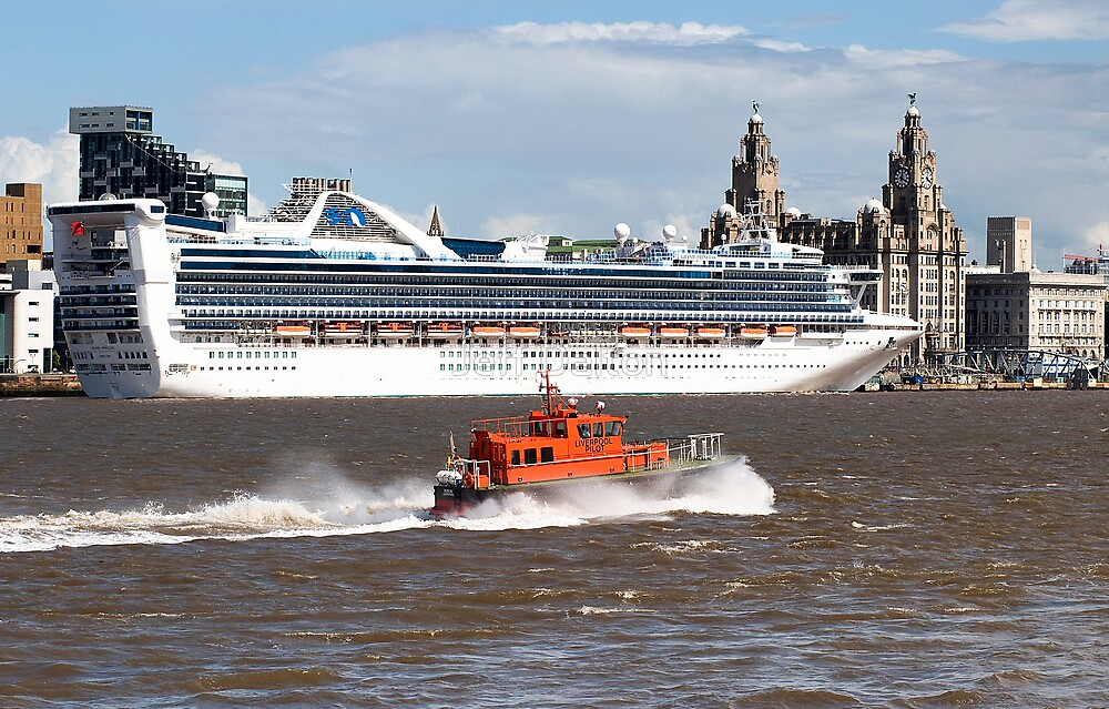 Grand Princess and Liverpool Pilot by Jeff Dalton