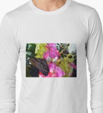 Colorful butterflies on flowers in the garden  T-Shirt
