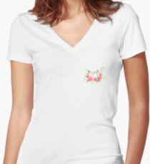 Rose cat Women's Fitted V-Neck T-Shirt