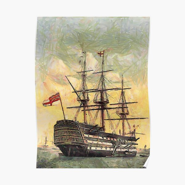 """A digital painting of  The """"Victory"""" (Nelson's Flagship) Portsmouth, Hampshire, England 19th century Poster"""