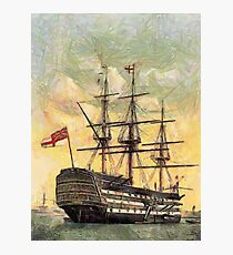 """A digital painting of  The """"Victory"""" (Nelson's Flagship) Portsmouth, Hampshire, England 19th century Photographic Print"""