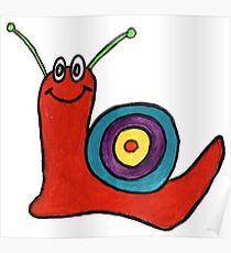 Cartoon Snail - Abstract Fun Red Snail Poster