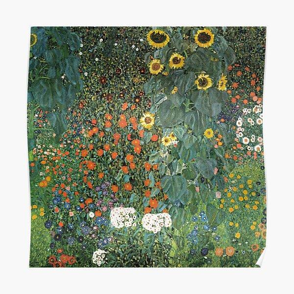 Bauerngarten mit Sonnenblumen Poster
