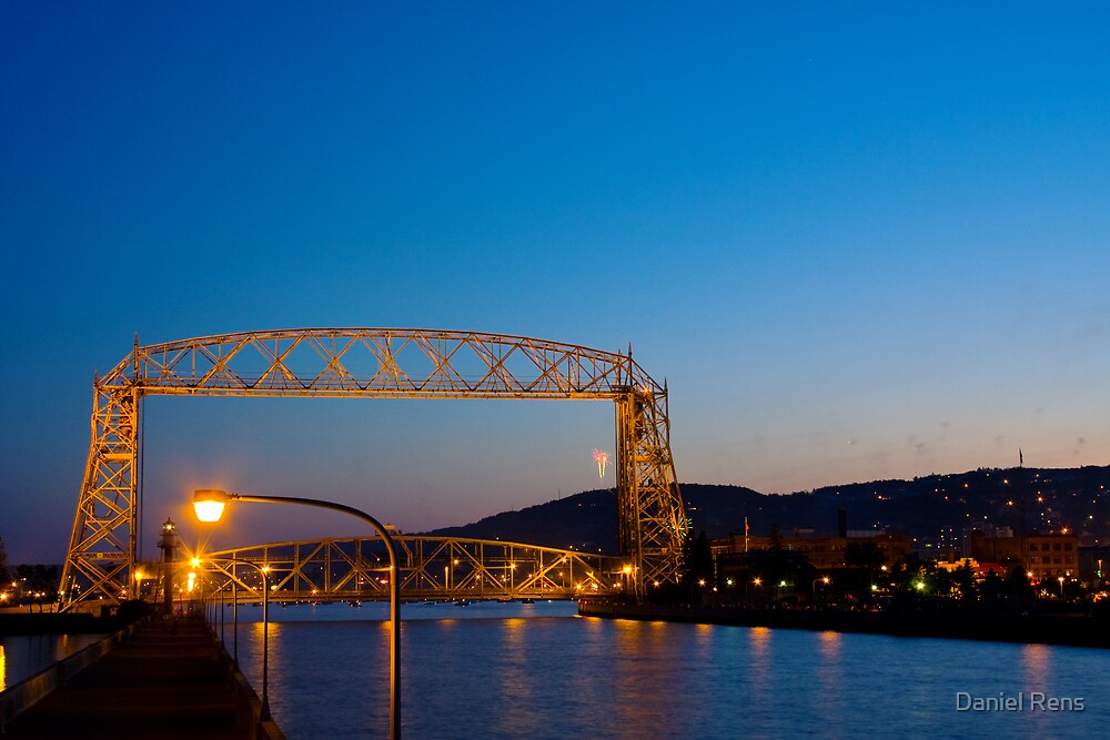 Twilight Over the Duluth Aerial Lift Bridge by Daniel Rens