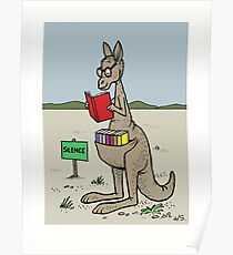 Kangaroo With His Library  Poster