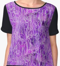 Iris Flowers Violet Women's Chiffon Top